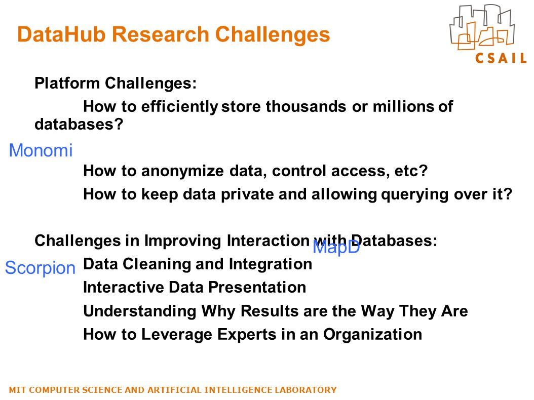 DataHub Research Challenges Platform Challenges: How to efficiently store thousands or millions of databases? How to anonymize data, control access, e