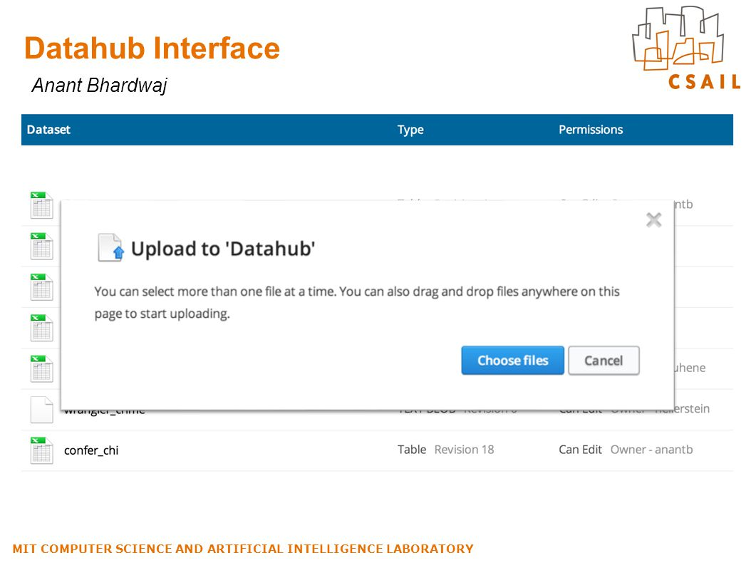 Datahub Interface MIT COMPUTER SCIENCE AND ARTIFICIAL INTELLIGENCE LABORATORY Anant Bhardwaj