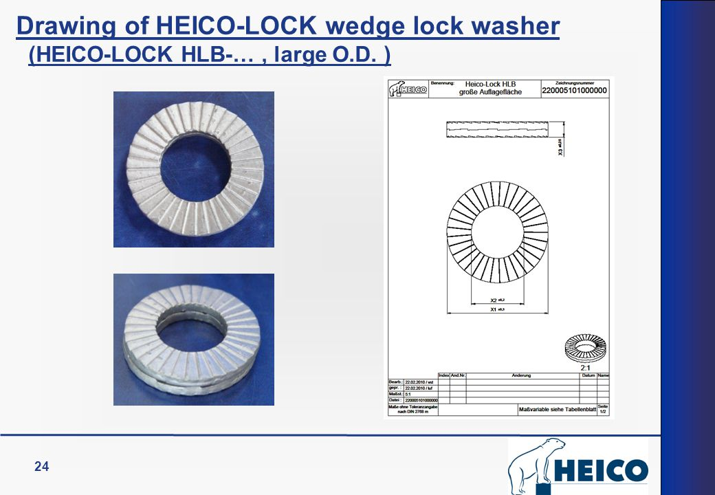 24 Drawing of HEICO-LOCK wedge lock washer (HEICO-LOCK HLB-…, large O.D. )