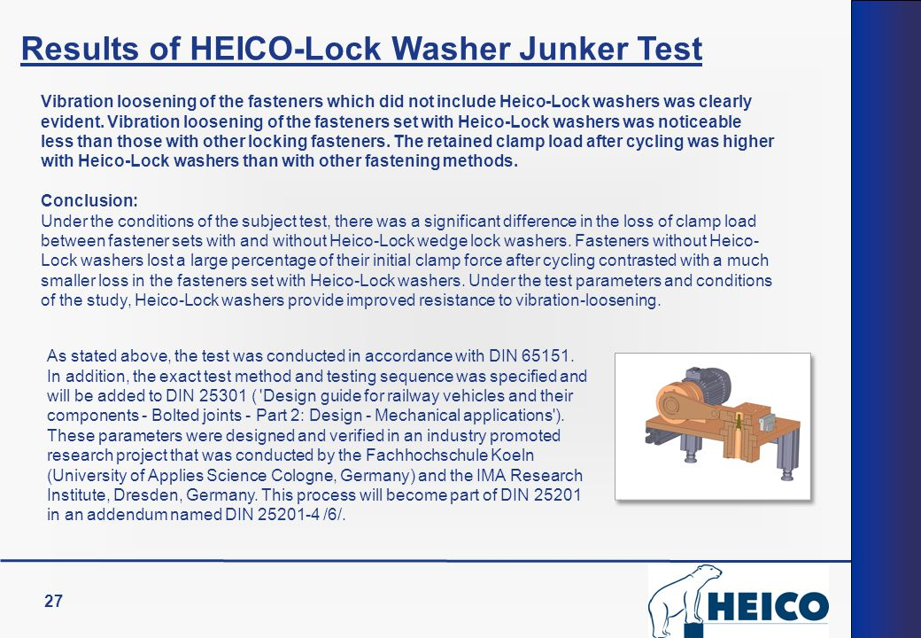 27 Results of HEICO-Lock Washer Junker Test Vibration loosening of the fasteners which did not include Heico-Lock washers was clearly evident.