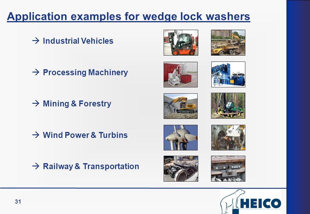 31 Application examples for wedge lock washers  Industrial Vehicles  Processing Machinery  Mining & Forestry  Wind Power & Turbins  Railway & Tra
