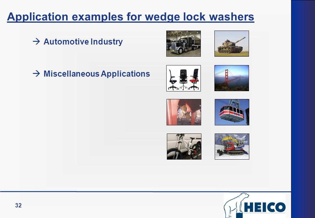 32 Application examples for wedge lock washers  Automotive Industry  Miscellaneous Applications