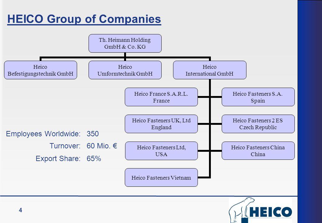 4 HEICO Group of Companies Th. Heimann Holding GmbH & Co. KG Heico Befestigungstechnik GmbH Heico Umformtechnik GmbH Heico International GmbH Heico Fr