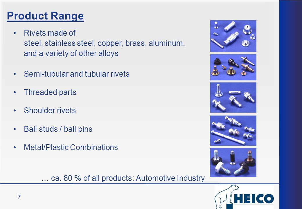 7 Rivets made of steel, stainless steel, copper, brass, aluminum, and a variety of other alloys Semi-tubular and tubular rivets Threaded parts Shoulde