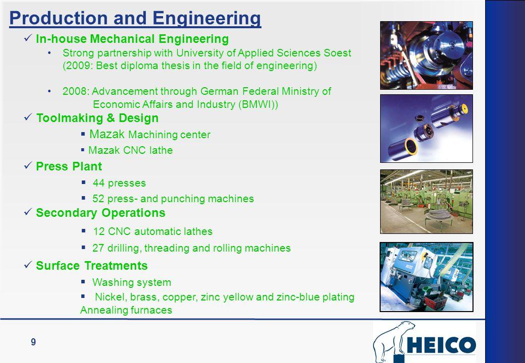 9 Toolmaking & Design  Mazak Machining center  Mazak CNC lathe In-house Mechanical Engineering Strong partnership with University of Applied Science