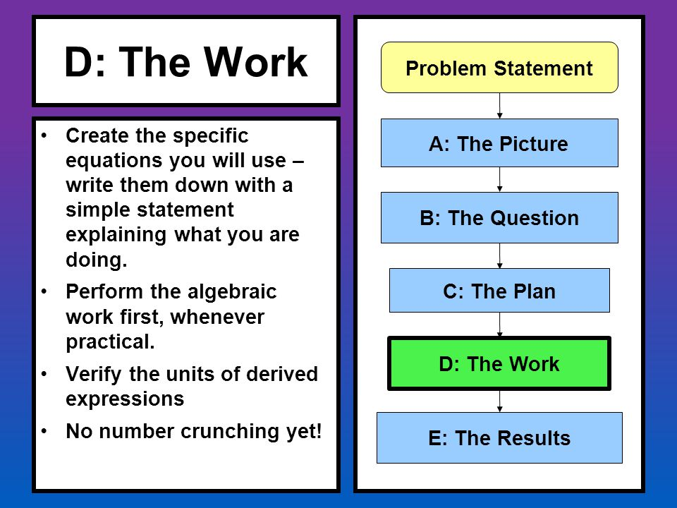 D: The Work Create the specific equations you will use – write them down with a simple statement explaining what you are doing. Perform the algebraic