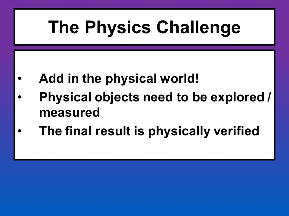 The Physics Challenge Add in the physical world! Physical objects need to be explored / measured The final result is physically verified