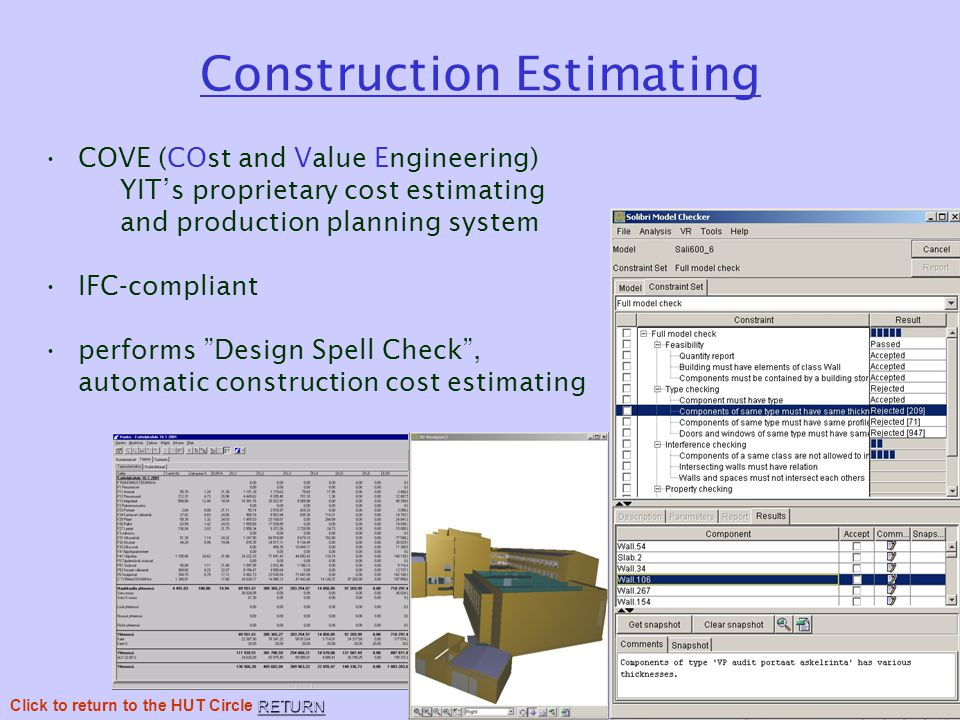 Construction Estimating COVE (COst and Value Engineering) YIT's proprietary cost estimating and production planning system IFC-compliant performs Design Spell Check , automatic construction cost estimating RETURN Click to return to the HUT Circle RETURN
