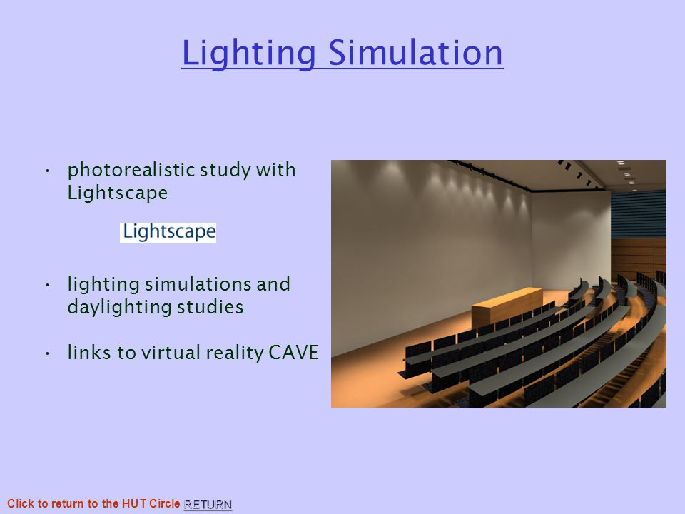 Lighting Simulation photorealistic study with Lightscape lighting simulations and daylighting studies links to virtual reality CAVE RETURN Click to return to the HUT Circle RETURN