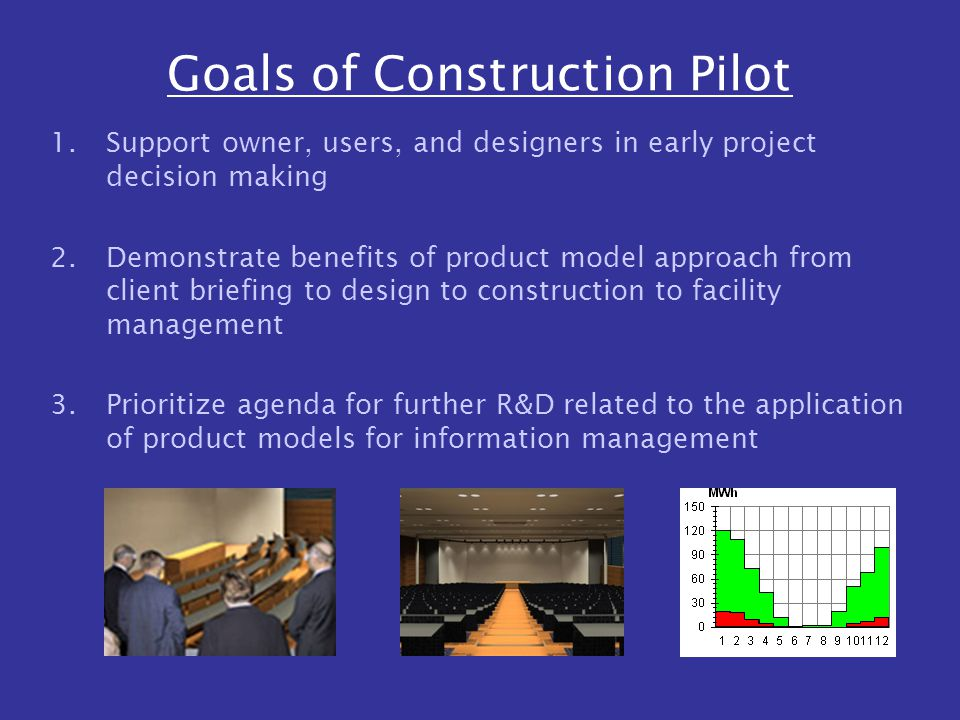 Goals of Construction Pilot 1.Support owner, users, and designers in early project decision making 2.Demonstrate benefits of product model approach from client briefing to design to construction to facility management 3.Prioritize agenda for further R&D related to the application of product models for information management