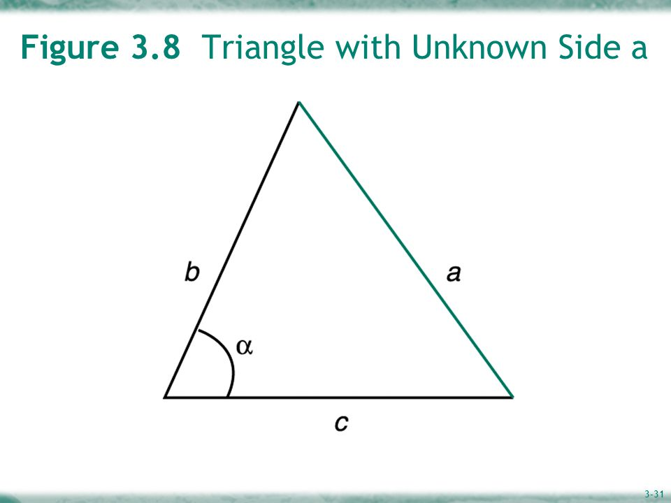 3-31 Figure 3.8 Triangle with Unknown Side a
