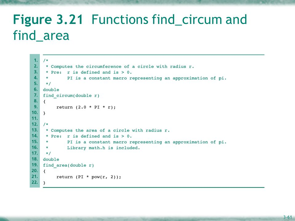 3-61 Figure 3.21 Functions find_circum and find_area