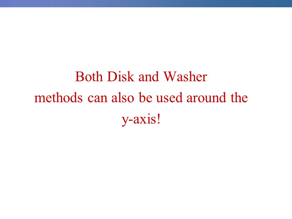 Both Disk and Washer methods can also be used around the y-axis!