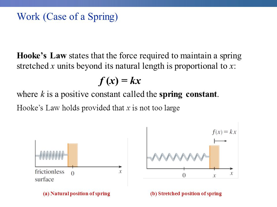 Work (Case of a Spring) Hooke's Law states that the force required to maintain a spring stretched x units beyond its natural length is proportional to x: f (x) = kx where k is a positive constant called the spring constant.