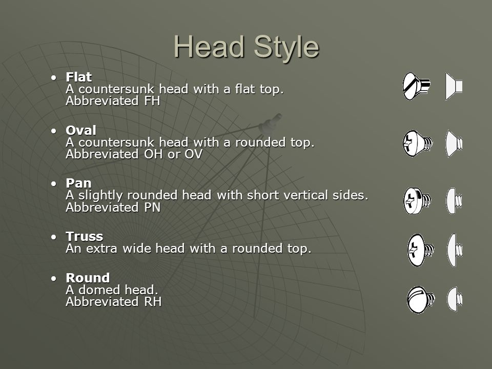 Head Style Flat A countersunk head with a flat top. Abbreviated FHFlat A countersunk head with a flat top. Abbreviated FH Oval A countersunk head with