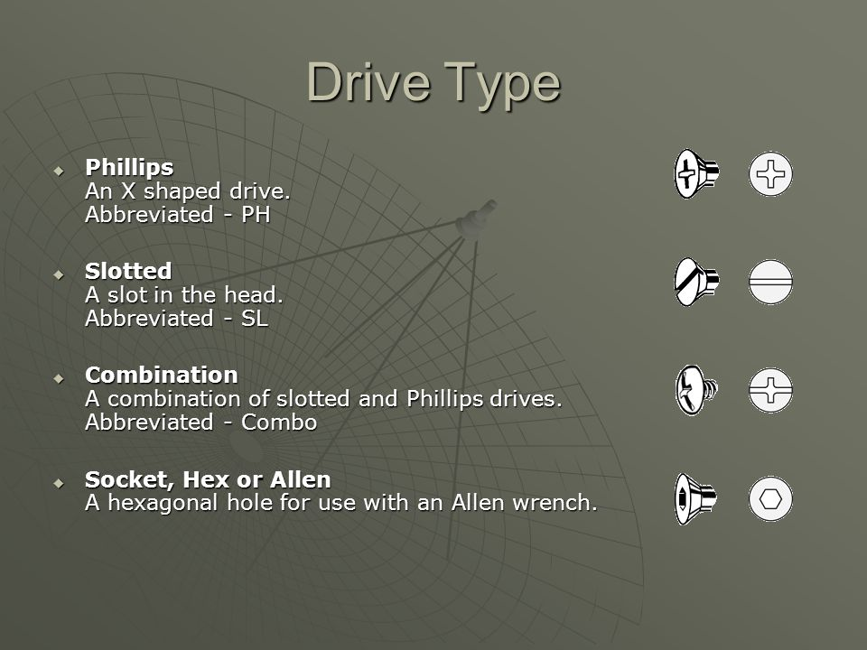 Drive Type  Phillips An X shaped drive.Abbreviated - PH  Slotted A slot in the head.