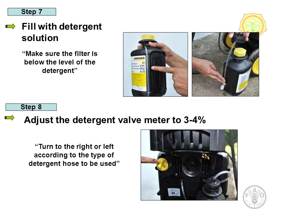 Step 7 Fill with detergent solution Step 8 Adjust the detergent valve meter to 3-4% Make sure the filter is below the level of the detergent Turn to the right or left according to the type of detergent hose to be used