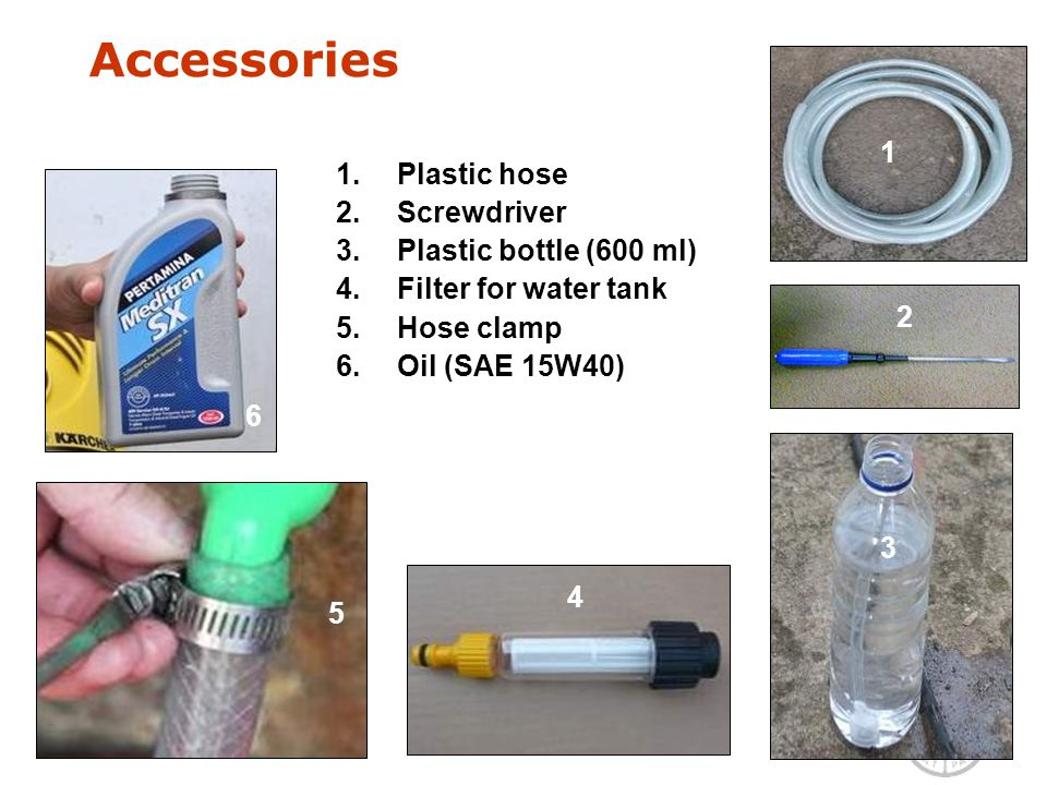 1.Plastic hose 2.Screwdriver 3.Plastic bottle (600 ml) 4.Filter for water tank 5.Hose clamp 6.Oil (SAE 15W40) 1 2 3 6 Accessories 5 1 2 3 4 6