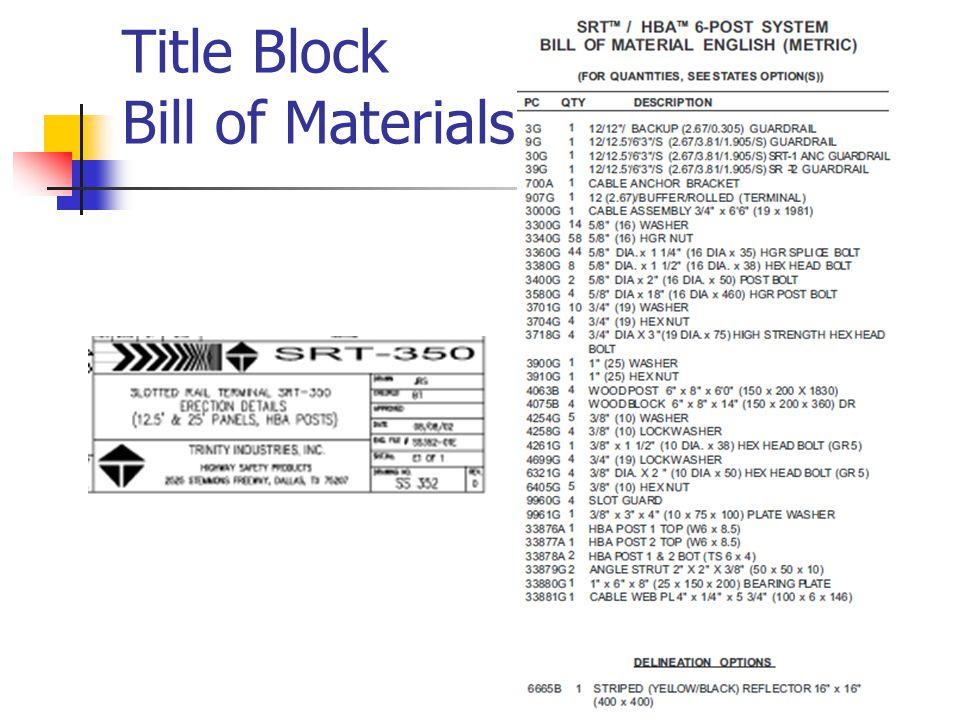 Title Block Bill of Materials