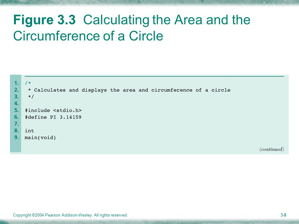 Copyright ©2004 Pearson Addison-Wesley. All rights reserved.3-8 Figure 3.3 Calculating the Area and the Circumference of a Circle