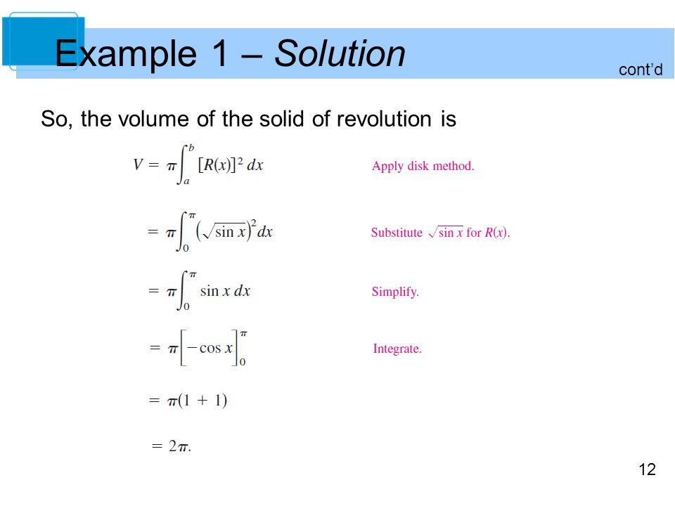 12 Example 1 – Solution So, the volume of the solid of revolution is cont'd