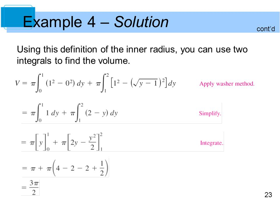23 Example 4 – Solution Using this definition of the inner radius, you can use two integrals to find the volume.