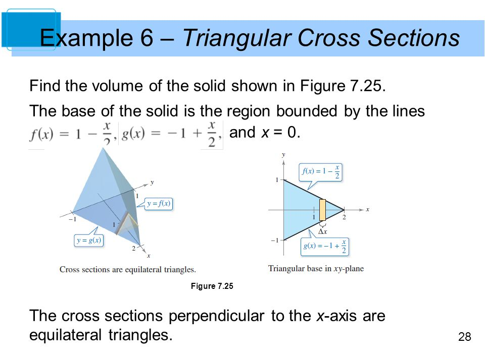 28 Example 6 – Triangular Cross Sections Find the volume of the solid shown in Figure 7.25.