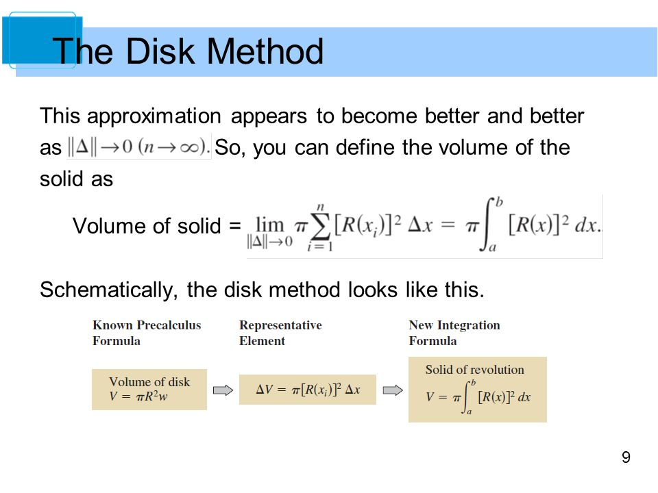 9 This approximation appears to become better and better as So, you can define the volume of the solid as Volume of solid = Schematically, the disk method looks like this.