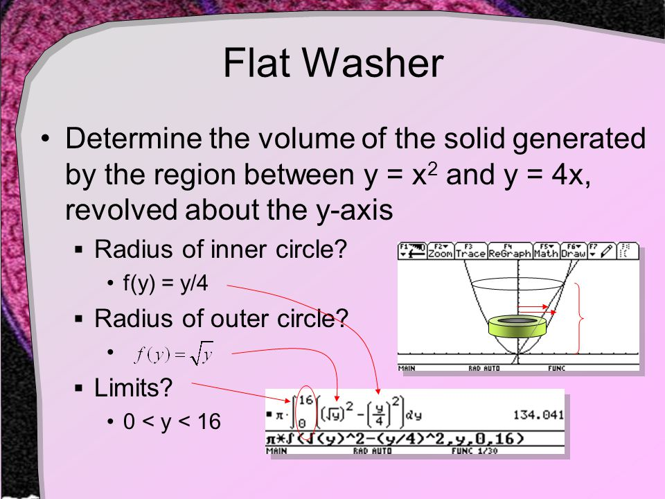 Flat Washer Determine the volume of the solid generated by the region between y = x 2 and y = 4x, revolved about the y-axis  Radius of inner circle.