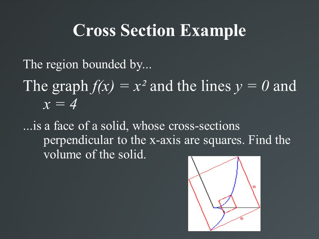 Cross Section Example The region bounded by...