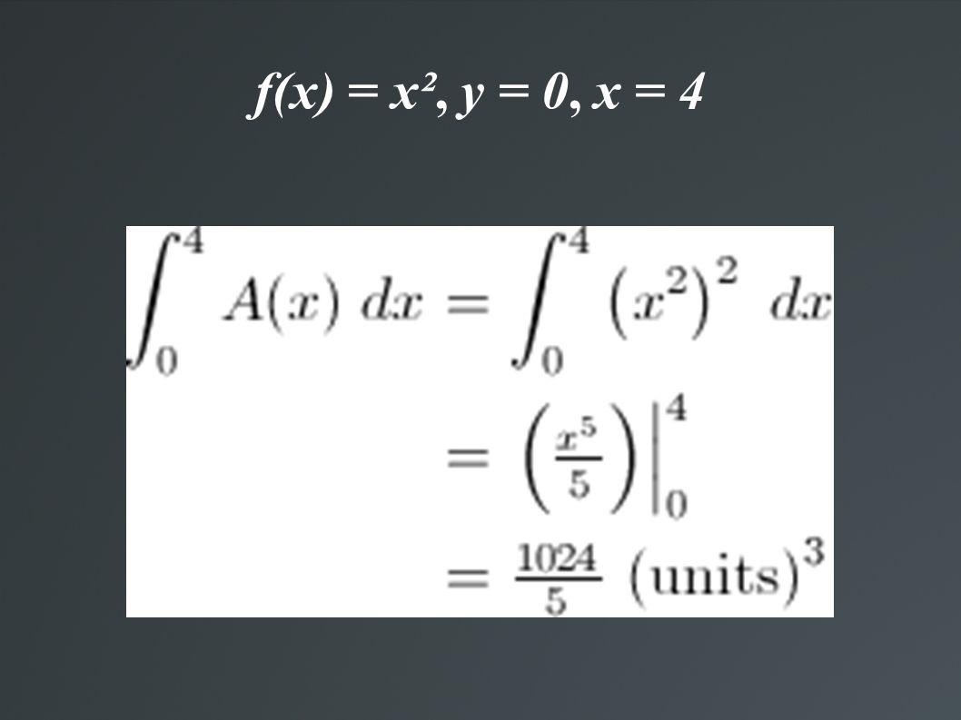 f(x) = x², y = 0, x = 4