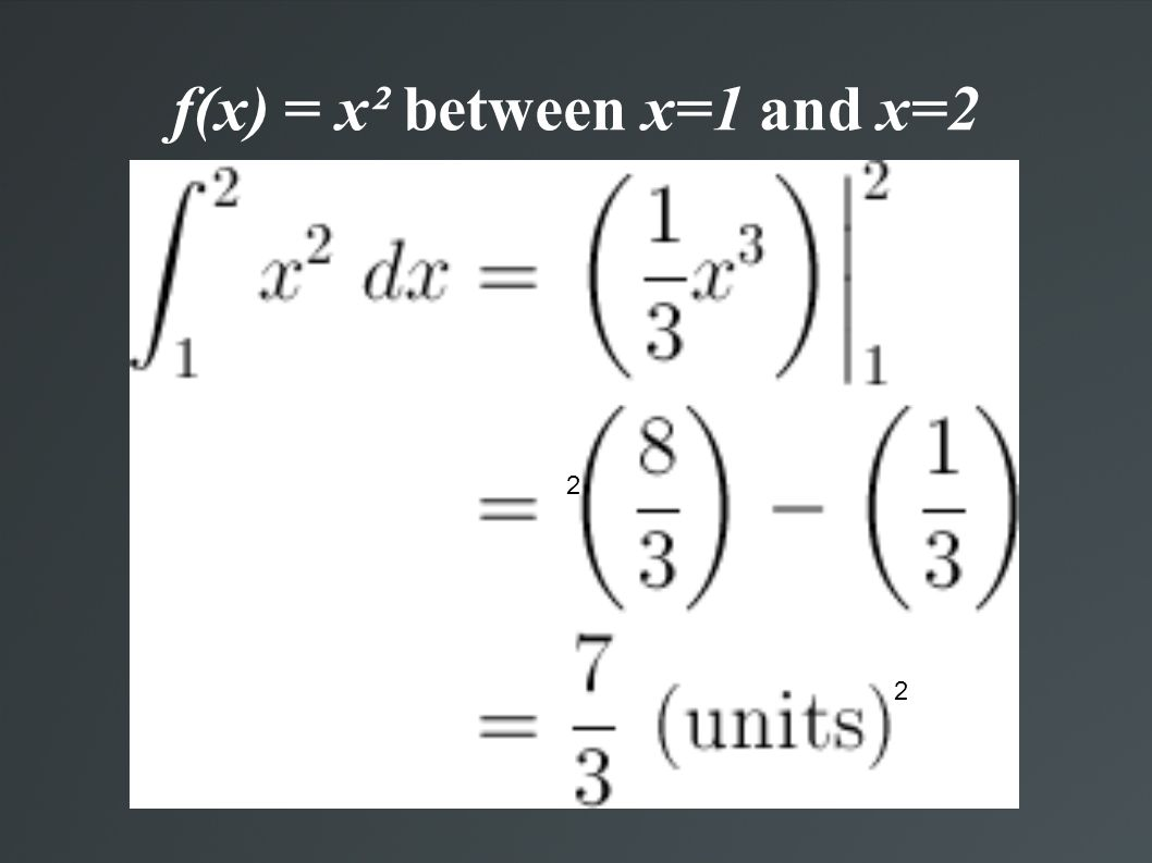 f(x) = x² between x=1 and x=2 2 2