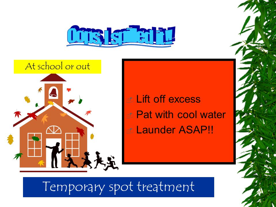  Lift off excess  Pat with cool water  Launder ASAP!! Temporary spot treatment At school or out