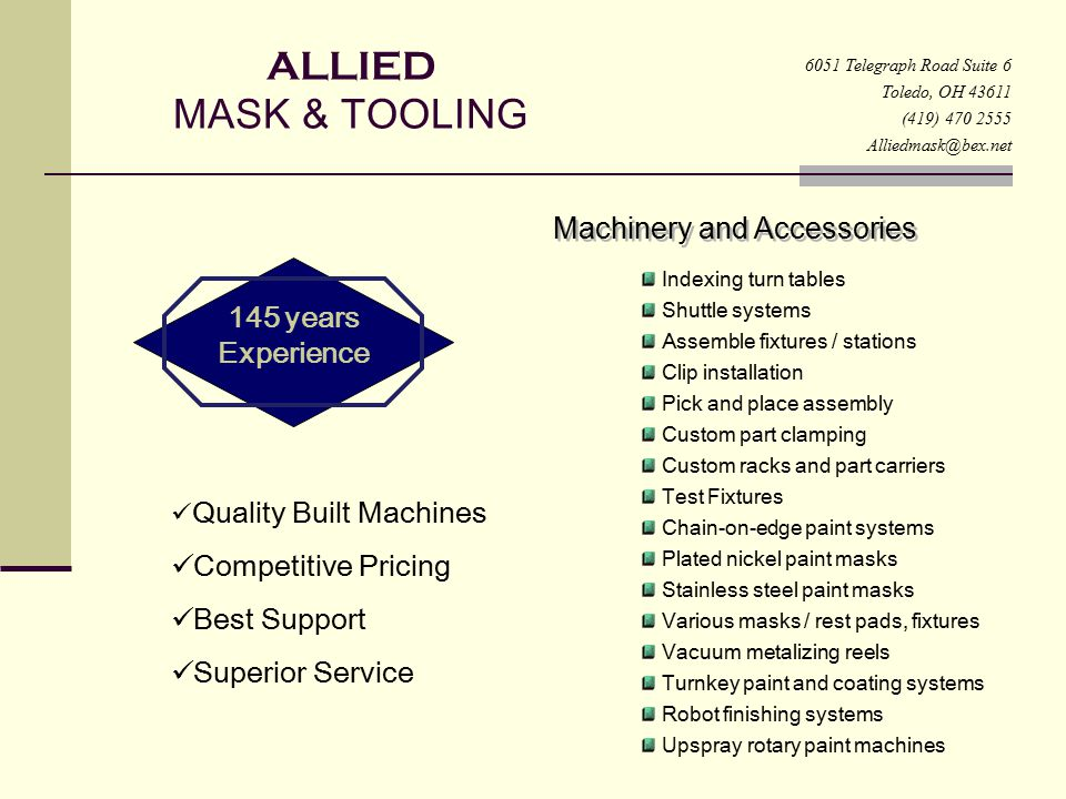 ALLIED MASK & TOOLING Decorative Tooling for the Finishing Industry