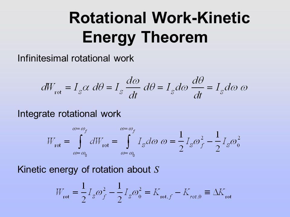 Rotational Work-Kinetic Energy Theorem Infinitesimal rotational work Integrate rotational work Kinetic energy of rotation about S