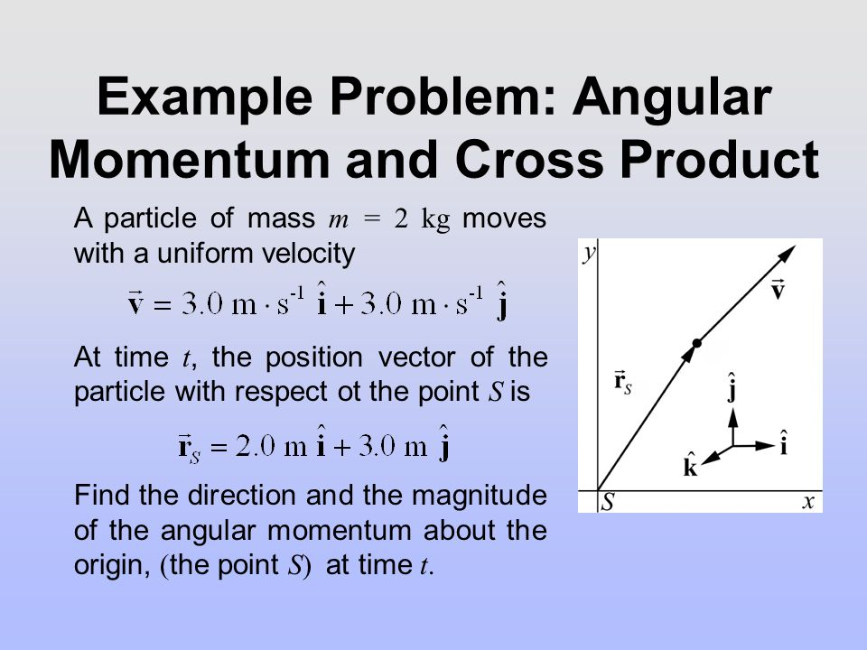 Solution: Angular Momentum and Cross Product The angular momentum vector of the particle about the point S is given by : The direction is in the negative direction, and the magnitude is