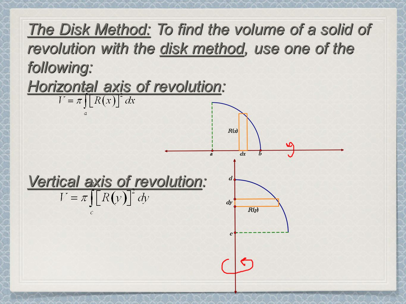 4 The Disk Method: To Find The Volume Of A Solid Of Revolution With The