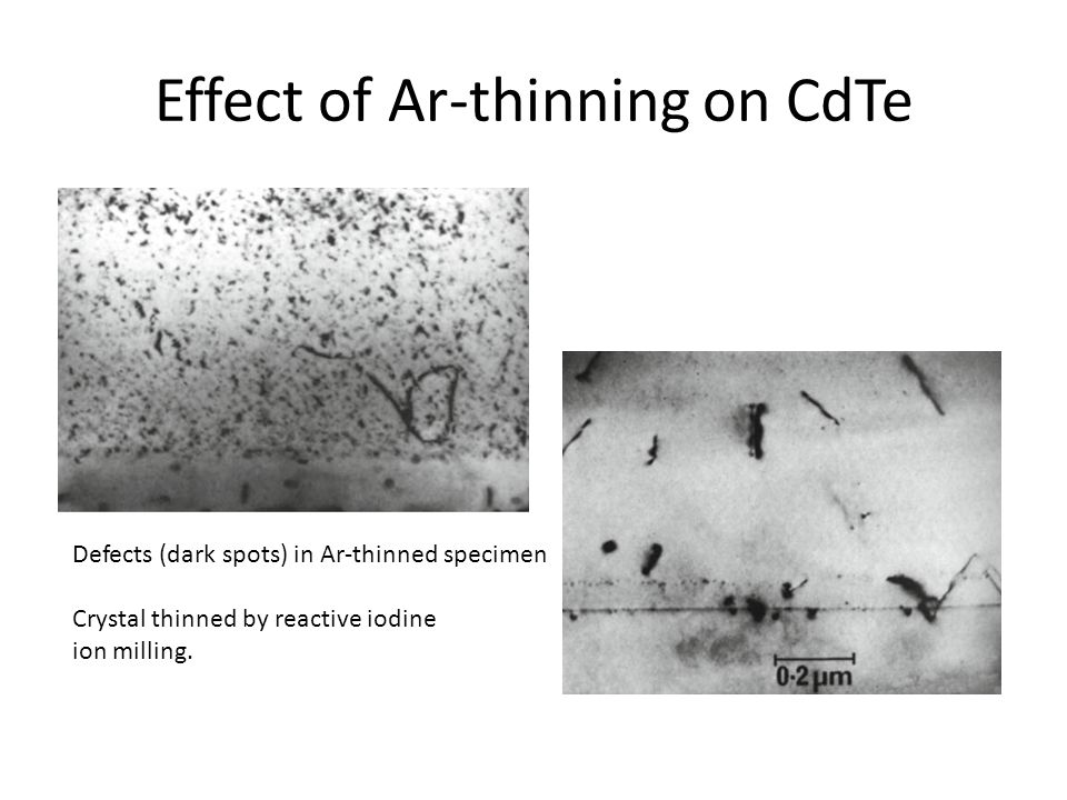 Effect of Ar-thinning on CdTe Defects (dark spots) in Ar-thinned specimen Crystal thinned by reactive iodine ion milling.