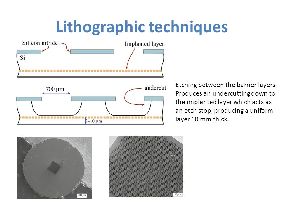 Lithographic techniques Etching between the barrier layers Produces an undercutting down to the implanted layer which acts as an etch stop, producing a uniform layer 10 mm thick.