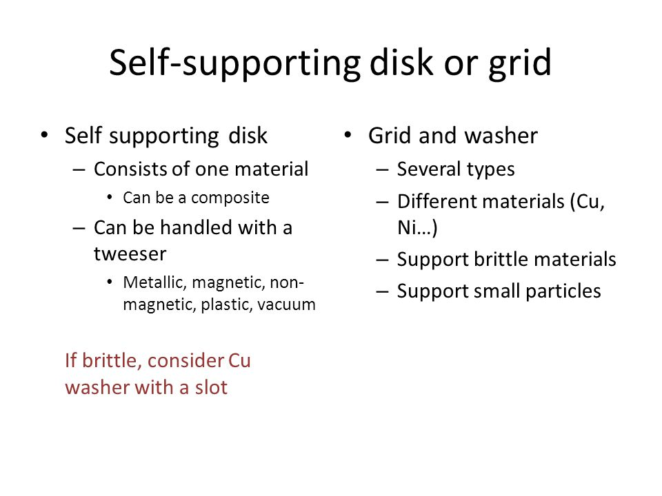 Self-supporting disk or grid Self supporting disk – Consists of one material Can be a composite – Can be handled with a tweeser Metallic, magnetic, non- magnetic, plastic, vacuum If brittle, consider Cu washer with a slot Grid and washer – Several types – Different materials (Cu, Ni…) – Support brittle materials – Support small particles