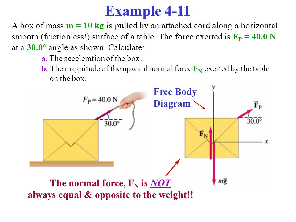Example 4-11 A box of mass m = 10 kg is pulled by an attached cord along a horizontal smooth (frictionless!) surface of a table. The force exerted is