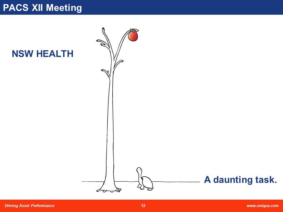 12Driving Asset Performancewww.oniqua.com PACS XII Meeting NSW HEALTH A daunting task.