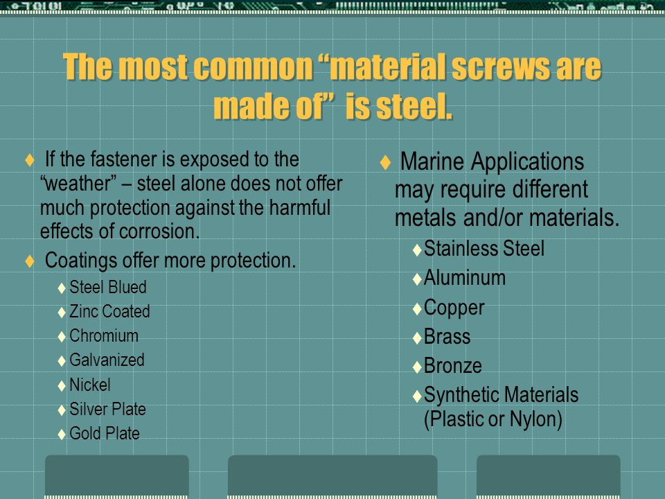 """The most common """"material screws are made of"""" is steel.  If the fastener is exposed to the """"weather"""" – steel alone does not offer much protection aga"""