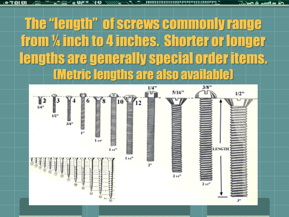 """The """"length"""" of screws commonly range from ¼ inch to 4 inches. Shorter or longer lengths are generally special order items. (Metric lengths are also a"""