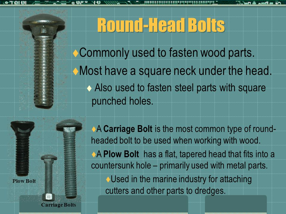 Round-Head Bolts  Commonly used to fasten wood parts.  Most have a square neck under the head.  Also used to fasten steel parts with square punched