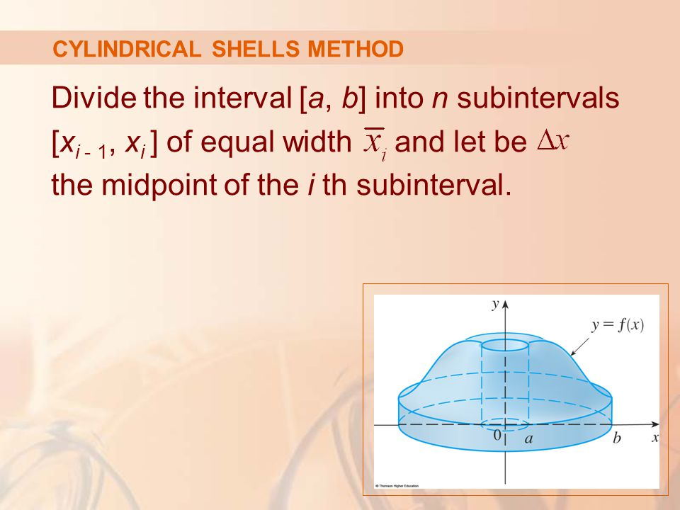 Divide the interval [a, b] into n subintervals [x i - 1, x i ] of equal width and let be the midpoint of the i th subinterval.