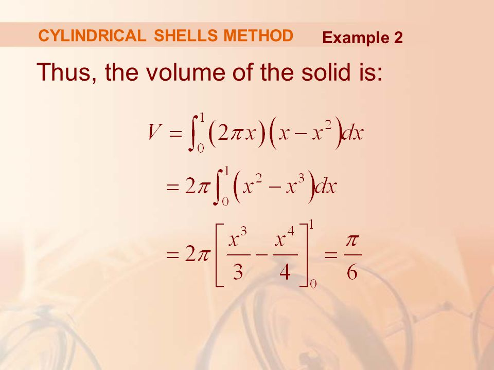 Thus, the volume of the solid is: Example 2 CYLINDRICAL SHELLS METHOD
