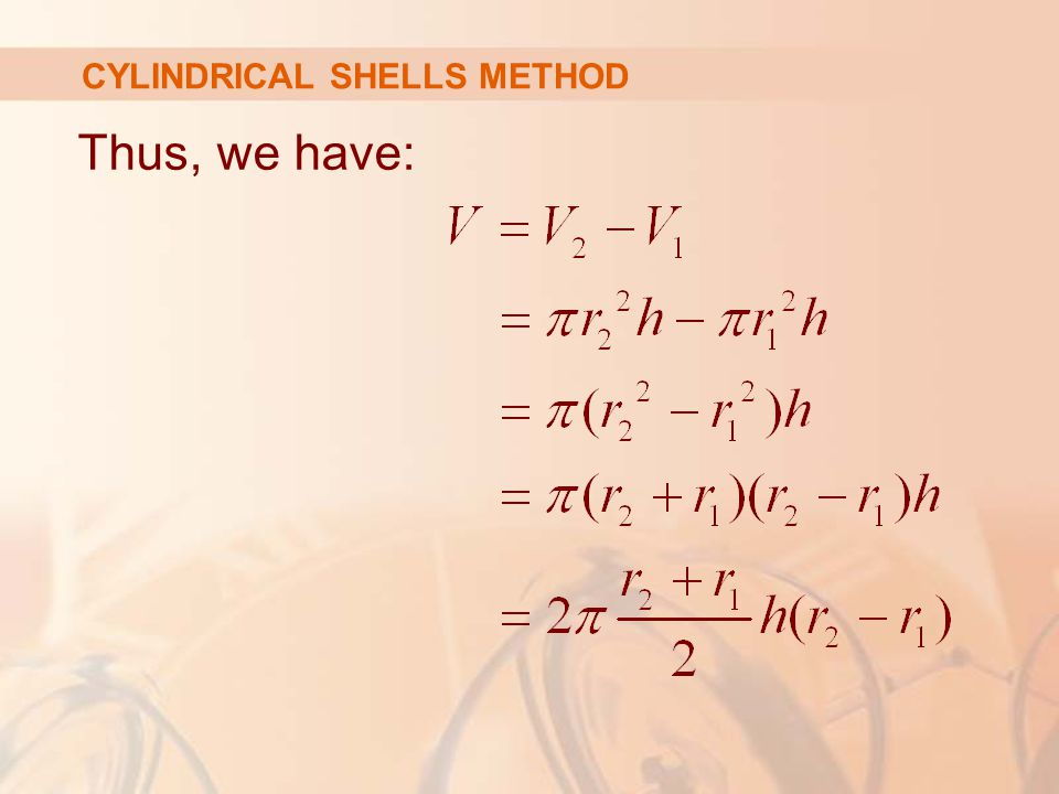 Thus, we have: CYLINDRICAL SHELLS METHOD