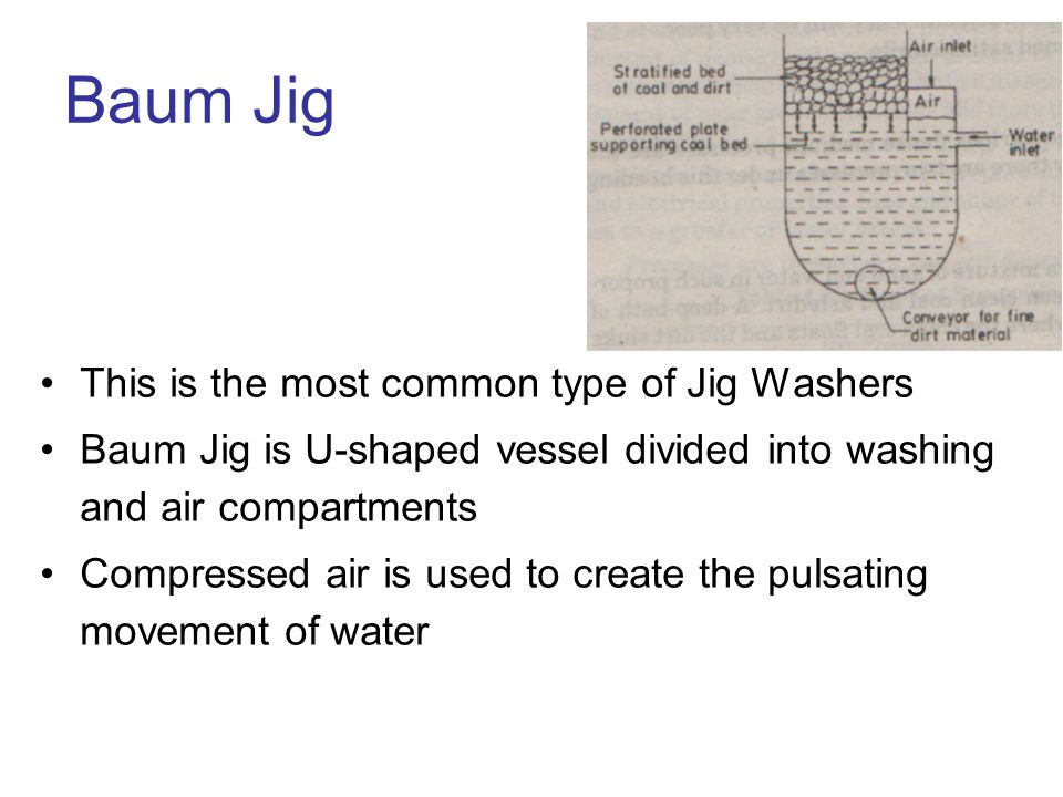 Baum Jig This is the most common type of Jig Washers Baum Jig is U-shaped vessel divided into washing and air compartments Compressed air is used to c