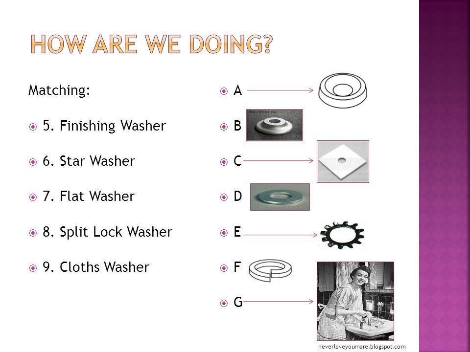 Matching:  5. Finishing Washer  6. Star Washer  7.